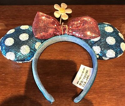 Disney Blue Sequin Polka Dot Daisy Steamboat Timeless Minnie Mouse Ears Headband