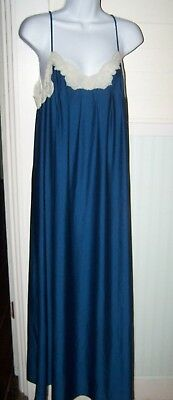 Teal Blue SHADOWLINE  W/Lace Trim Lingerie Long Nightgown ~ USA~ Medium