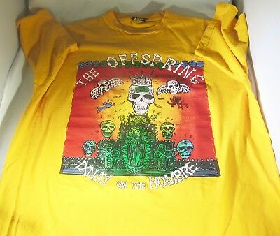 The Offspring Original 1998 Ixnay on the Hombre T-Shirt Large Yellow Two Sided