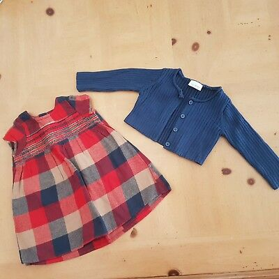 NEXT Baby Girl's Red Checked Dress, Cardigan Set Size 0 - 3 Months