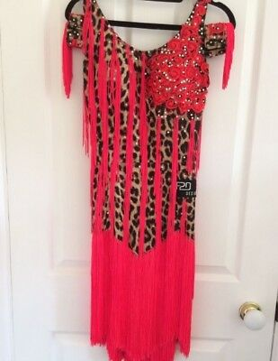 Latin dance dress, size 10/12, red and leopard