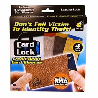 Card Lock RFID Protection Sleeves, Leather Print - As Seen On TV