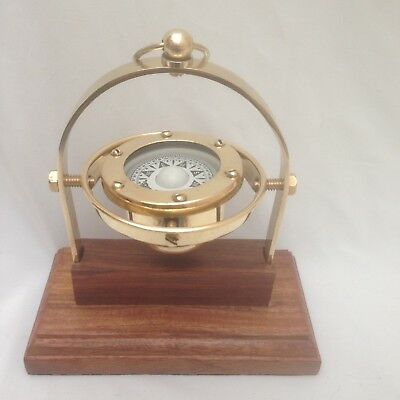 Nautical Marine Gimballed ship solid Brass  compass on wooden Stand - Gift