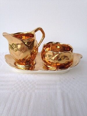 ROYAL WINTON GOLDEN AGE SUGAR & CREAMER With Tray. England