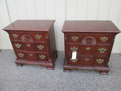 58302  Pair Cherry Chippendale Blockfront  Bachelor Chest Nightstands