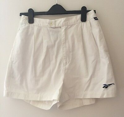 Vintage Reebok White Cotton Drill Tennis Shorts. Size Large Elasticated Waist