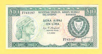 10 CYPRUS POUNDS 1980 -  Circulated.