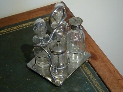 Antique/ Silver and Glass Condiment Set