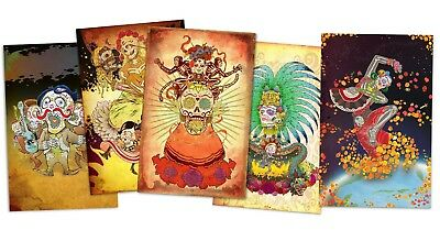 Day of the dead art / Dia de los Muertos 4 PRINTS COLLECTED signed by artist