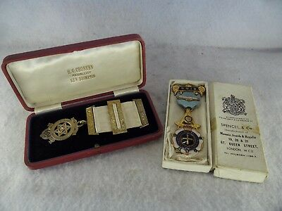 Pair of Boxed Antique Masonic Jewels 1 Sterling Solid Silver