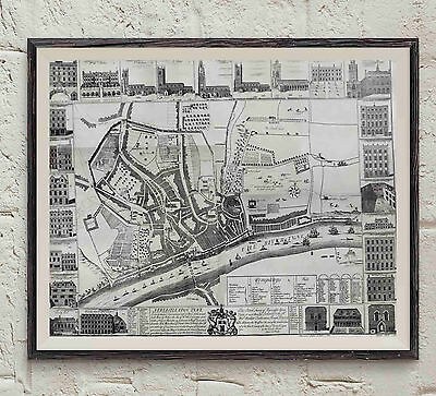 Map of Newcastle England 1723  Print 8 X 10