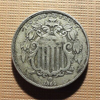 U.s. 1866 Shield Nickel With Rays, Nice Clear Date, Nice Coin!      5Crm01