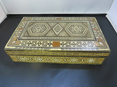 "Vintage Inlaid  Box  Hand made  8.5"" X 5"" X 2"""