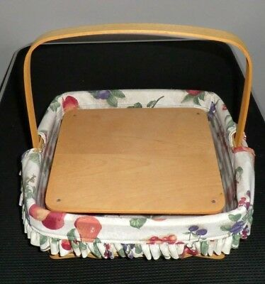 "1999 LONGABERGER 12"" BASKET with LINER & PROTECTOR & TABLE"