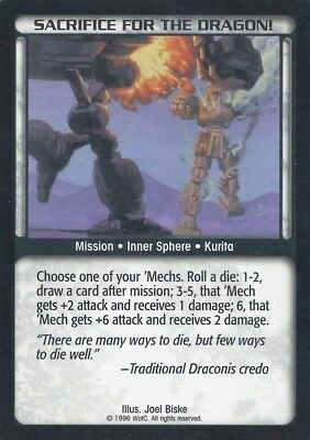 Sacrifice For The Dragon Battletech CCG TCG Rare Limited Edition Karte Mint