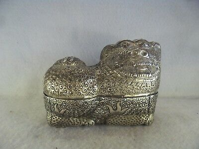 Antiques Cambodian Dragon Design Metal Betel Box