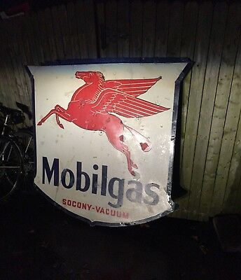 "54"" Mobilgas Shield. Double Sided Porcelain."