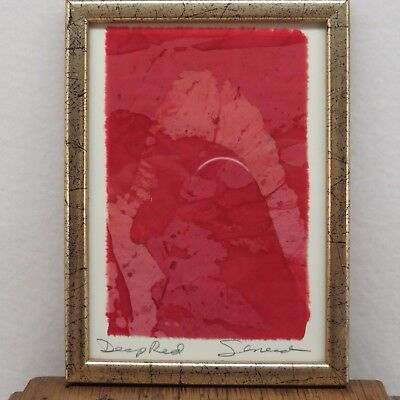 "SINEAD PARKS Textile Artist Original OOAK Work ""Deep Red"" Framed Artist Signed!!"