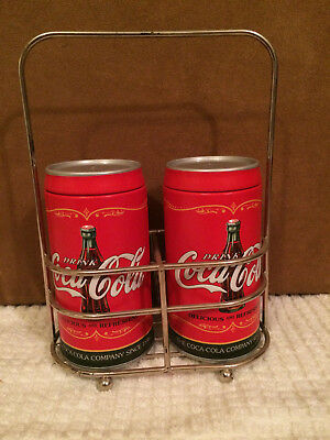 Rare Design Coca Cola Metal Salt & Pepper Shakers with Metal Carrier Stand NWT