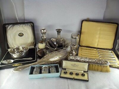 Large Collection Job Lot of Solid Silver for Scrap or Resale