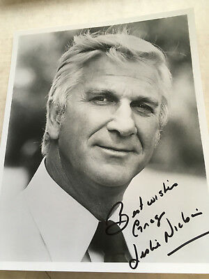 Leslie Nielsen Forbidden Planet AIrplane signed and inscribed 8x10 Portrait