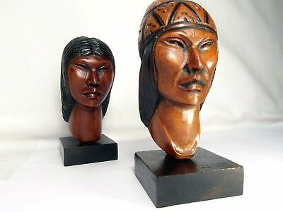 Native American Indian Tribal Carved Wood Heads. Great Aura. 'museum' Mounts!