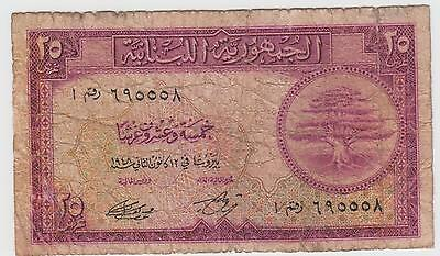 Lebanon 25 Piastres 12.1.1948 P 42 Circulated Banknote