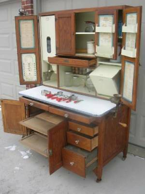 Oak Hoosier SELLERS Cabinet w Flour & Meal Bin, Loaded with Extras and Glassware