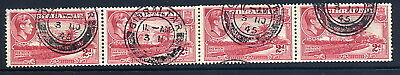 Gibraltar 1938-51 Kgvi 2D Carmine Coil Join Strip Of Four Very Fine Cds Used