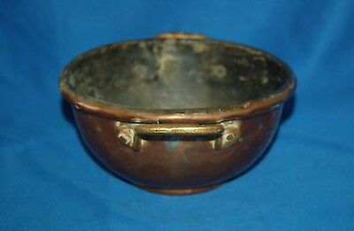Vintage tin lined heavy gauge copper bowl with brass handles