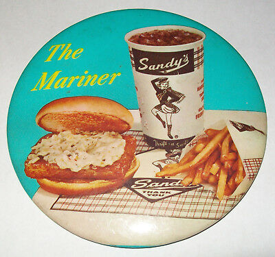 SANDY'S Drive-In Restaurant vintage 1960's Button Pin advertising fast food RARE