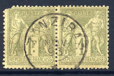 Zanzibar (French Po's) 1876-85 1F Forerunner Pair Of France Fine Used Dated Cds