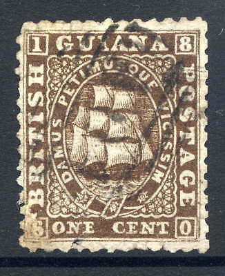 British Guiana 1862-65 Ship Scarce 1C Brown Spacefiller Used With Duplex Cancel