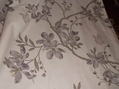 """Huge Cream & Lilac Eyelet Lined Curtains 66""""x 90"""" Contemp"""" 100% Cotton New"""