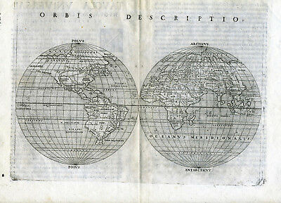 1561 Genuine OLD Antique map World. E & W Hemispheres. Orbis Descriptio Ruscelli