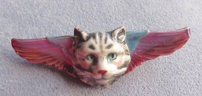 Handmade Ceramic Flying Cat Pin Brooch Cat with wings Angel Cat Pink Purple Blue