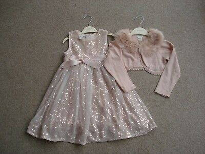 Girls Monsoon Party Pink Sequin Dress And Matching Cardigan Age 2-3