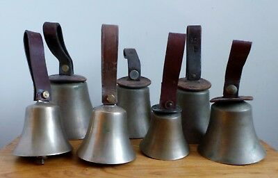 RARE CAMPANOLOGY BRASS & LEATHER BELLS - WARNERS of LONDON ? SET OF 7