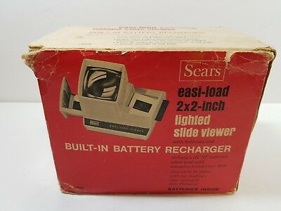 Vintage Sears Easi-Load 2x2 Inch Lighted Slide Viewer Built In Battery Recharger