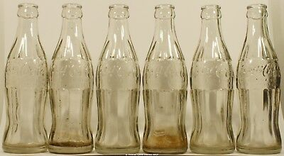 6 (lot) Belgium 1940's Coca-Cola embossed bottles