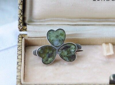 Antique/victorian Sterling Silver & Agate Small Lucky Clover Brooch (C Clasp)