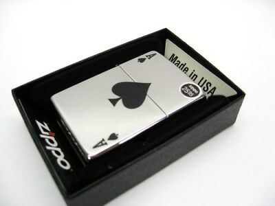 ZIPPO High Polish Chrome Lucky ACE of SPADES Classic Windproof Lighter! 24011