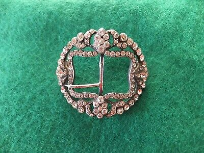 Antique silver and paste shoe buckle for restoration