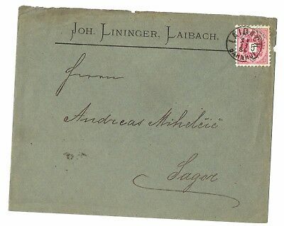 1884 COVER from LJUBLJANA to SAGOR (Recipient Andreas Mihelčič)
