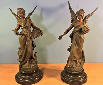 Pair of Bronzed Spelter Angel Statues by Louis Moreau