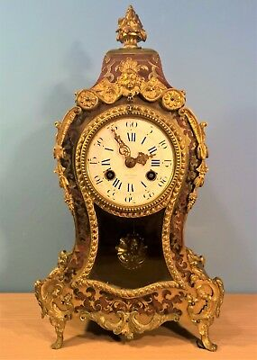Antique Boulle Ormoly Inlaid Mantel Clock by Henry Marc Paris, Working order
