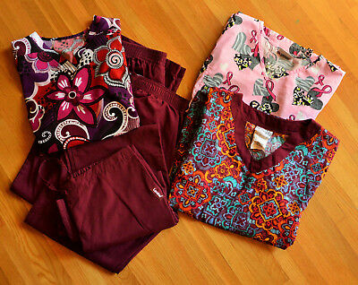Scrub Women's Tops Pants Large Patterns And Solids Excellent condition 6 Pieces
