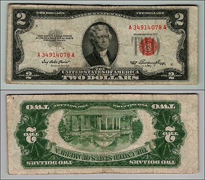 (1)-1953  Series United States Note Red Seal $2 Two Dollar Bill  LT P850