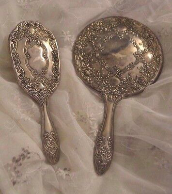 Antique Art Nouveau Ornate Silverplate Hand Mirror Hair Brush Vanity Set