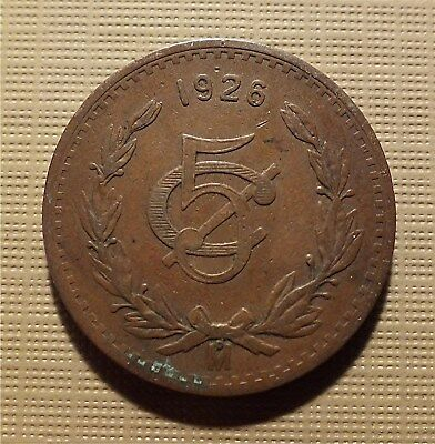 MEXICO, 1926 Mo - 5 CENTAVOS - LARGE BRONZE, GOOD DETAIL. KM#422  MRM6